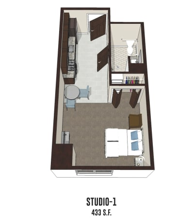 Independent living Studio 1 is 433 square feet at Gahanna in Columbus, Ohio.