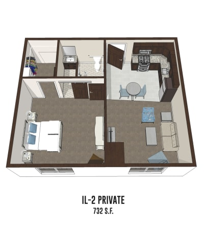 Independent living private room 2 is 732 square feet at Hilliard in Hilliard, Ohio.