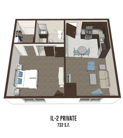 Independent living private room 2 is 732 square feet at Byron Center in Byron Center, Michigan.