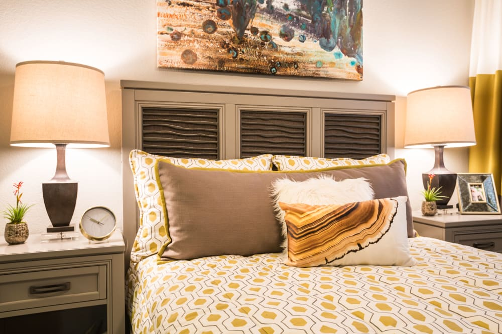 Comforting view of bedroom decorated with bright colors at 4127 Arcadia in Phoenix, Arizona