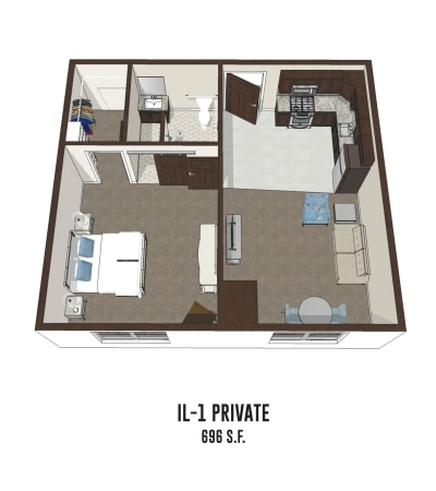 Independent living private room 1 is 696 square feet at New Albany in New Albany, Ohio.