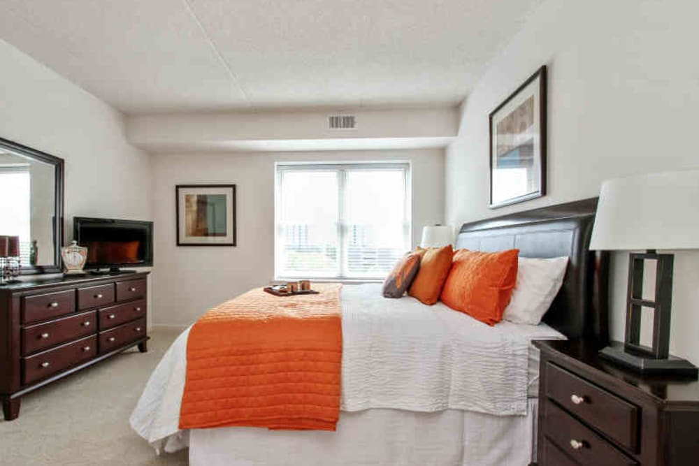 Well decorated bedroom at 301 Riverwalk Place in Buffalo Grove, Illinois