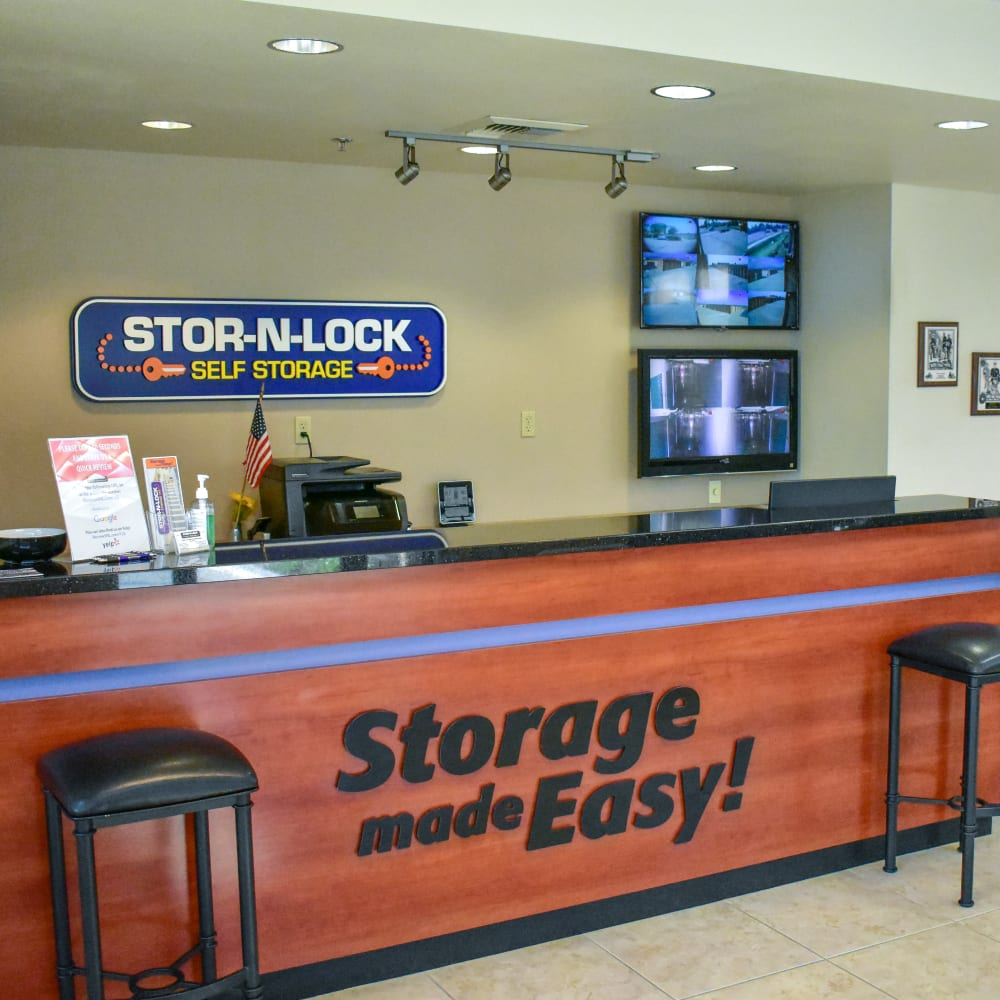 Inside the welcoming office at STOR-N-LOCK Self Storage in Redlands, California
