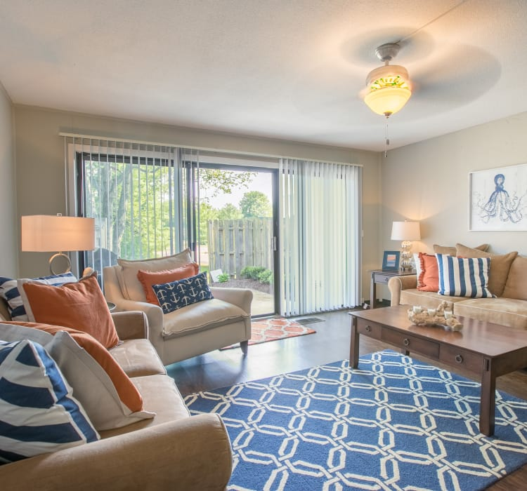 Well-decorated living room in model home at Whitewood Apartments