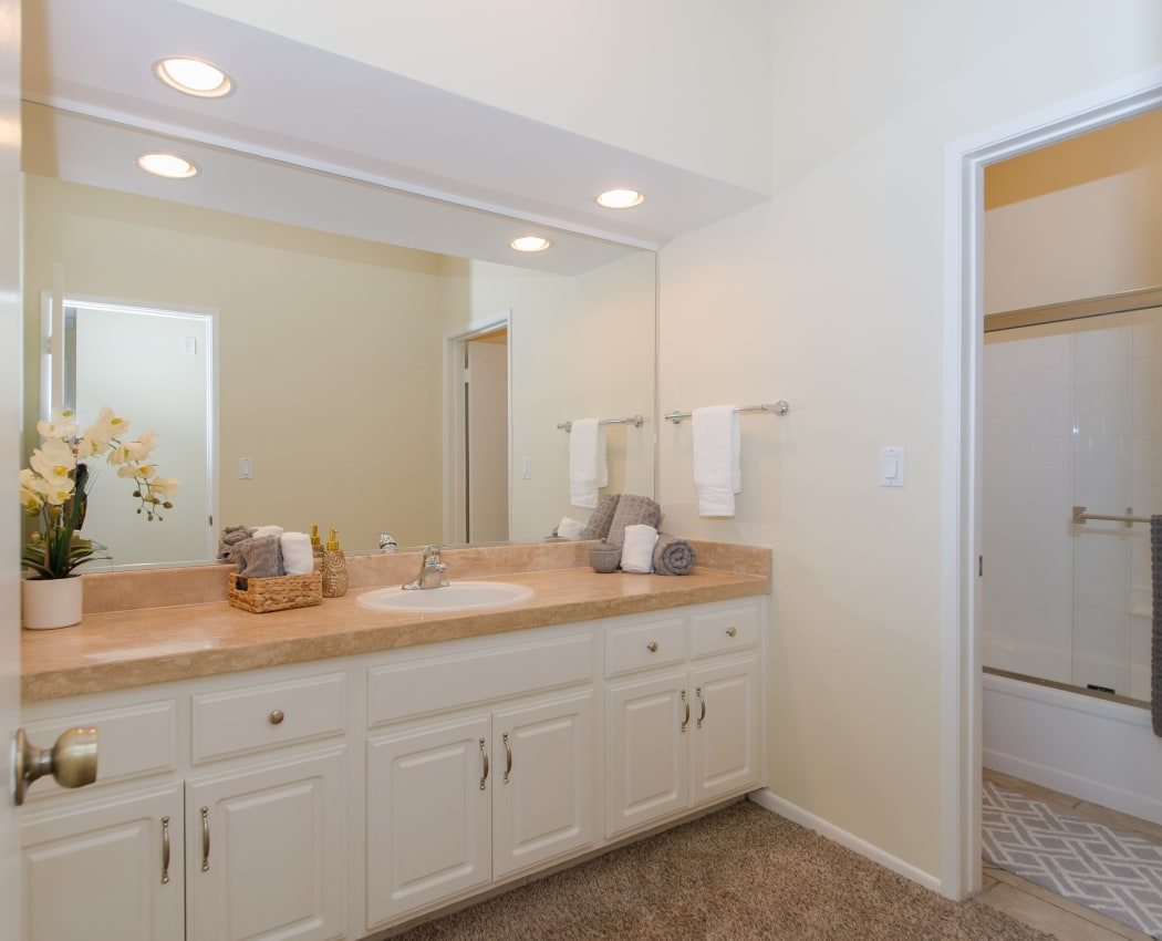 Spacious and elegant bathroom in model home at IMT Beverly Arnaz in Los Angeles, California