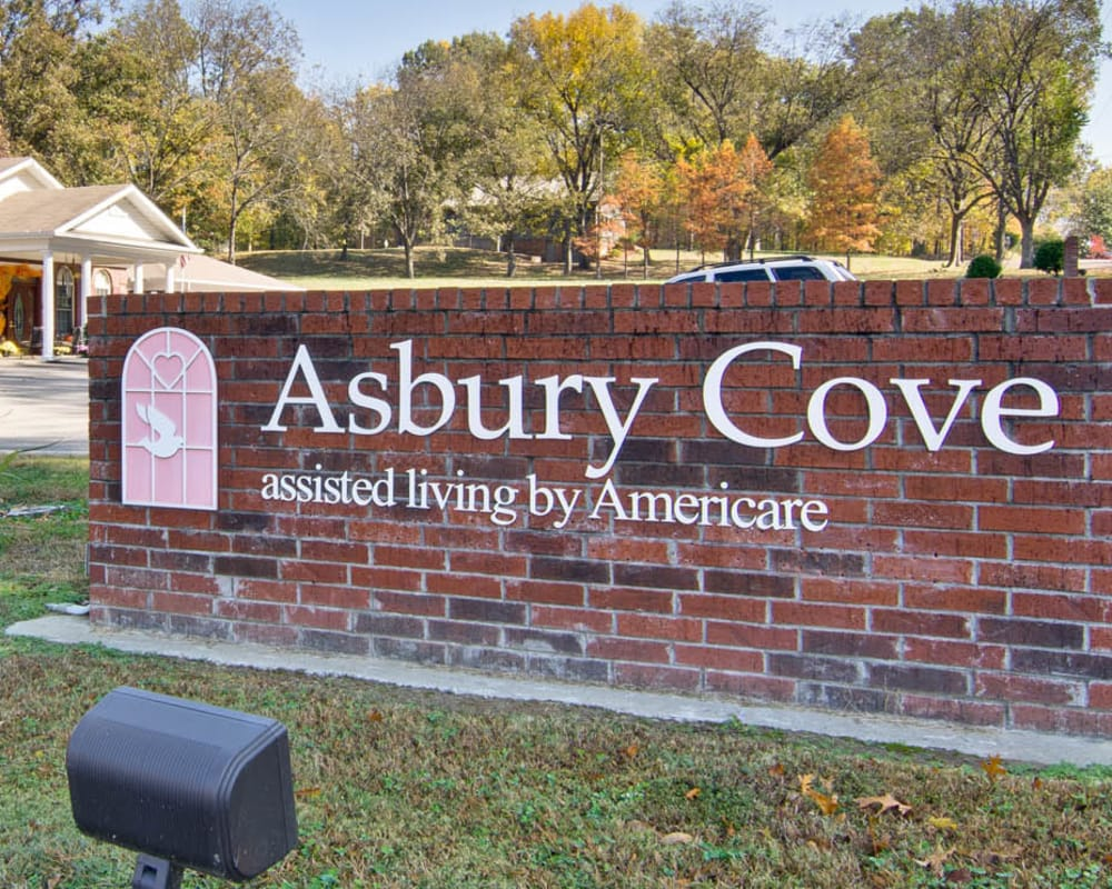 Main sign at Asbury Cove in Ripley, Tennessee