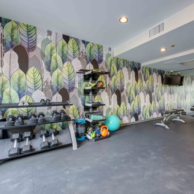 fitness center at Sofi Warner Center in Woodland Hills, California