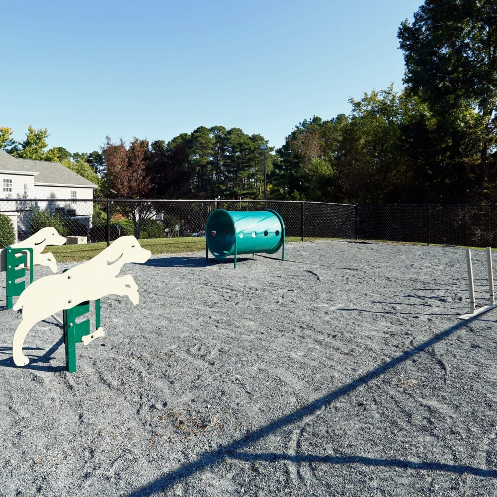 Onsite dog park at Rippling Stream Townhomes in Durham, North Carolina