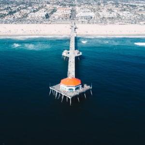 Aerial view of the Huntington Beach Pier