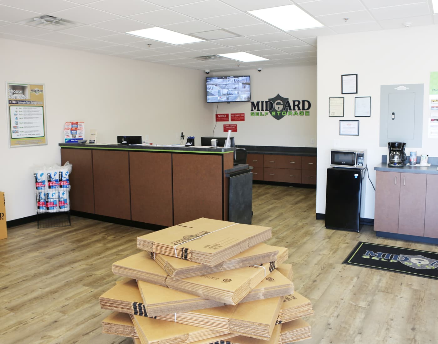 Leasing office at Midgard Self Storage in Greenville, South Carolina