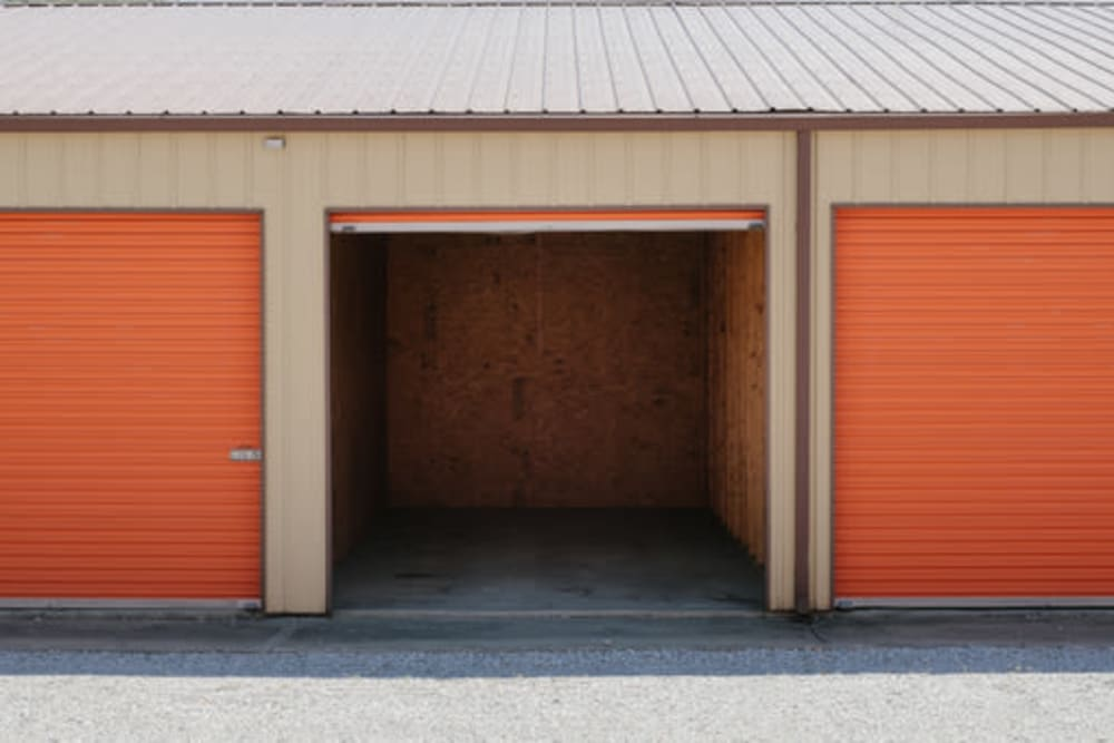 Roll-up doors on self storage units at StayLock Storage in Kouts, Indiana