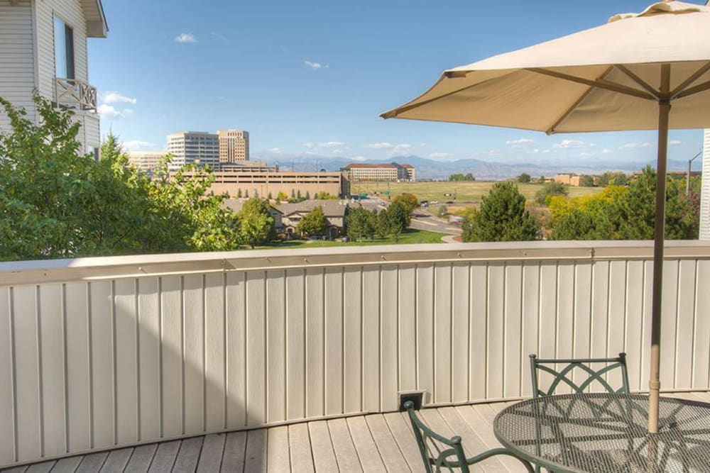 Outdoor seating with a view at Caley Ridge Assisted Living in Englewood, Colorado