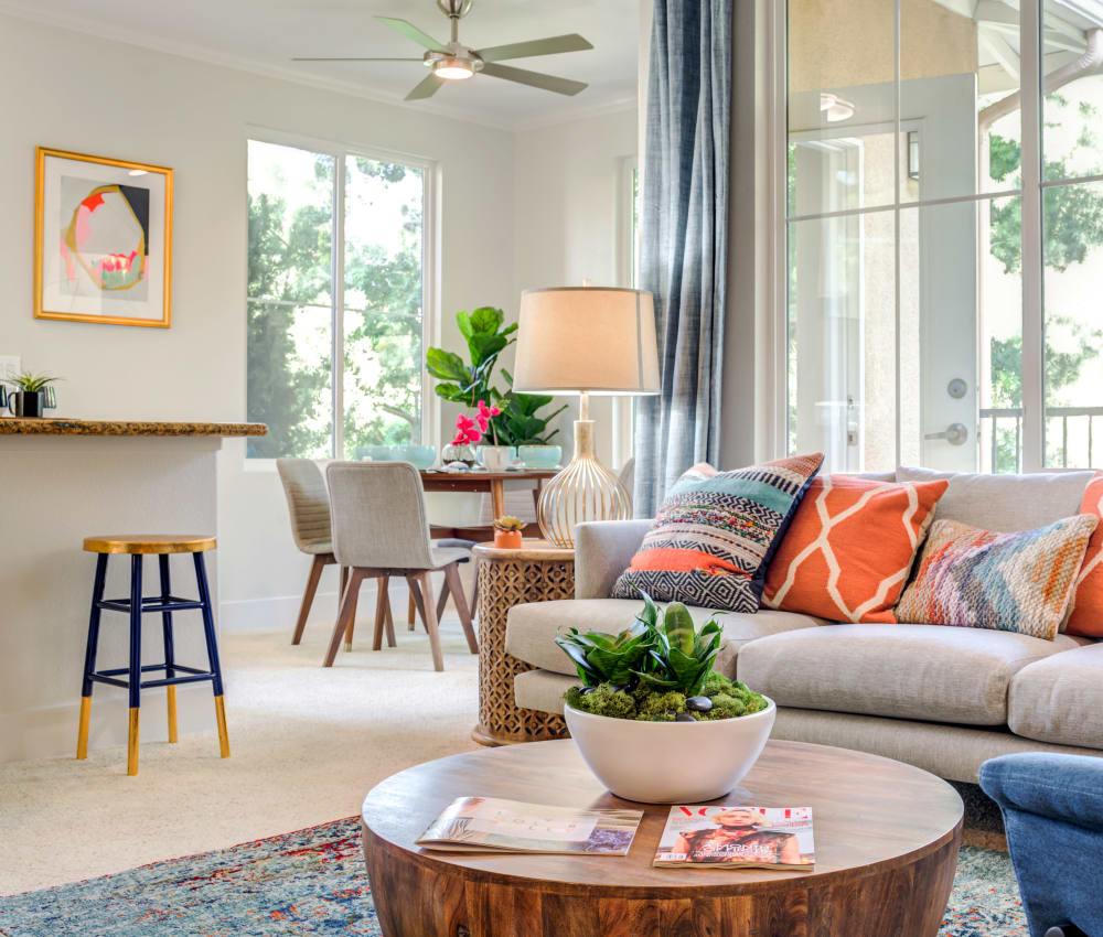Spacious and modern open-concept floor plan in a model home at Sofi Shadowridge in Vista, California