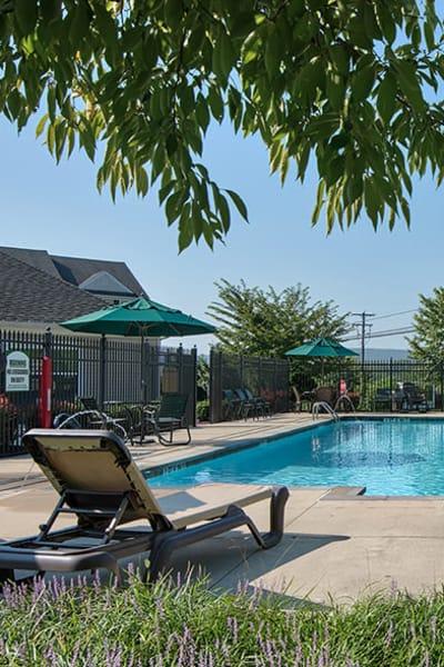 Beautiful swimming pool at Emerald Pointe Townhomes in Harrisburg, Pennsylvania