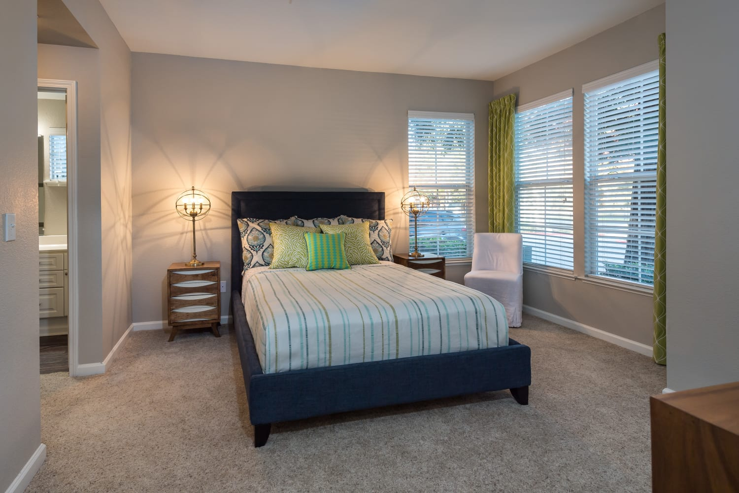 Master bedroom at Nantucket Apartments in Santa Clara, California