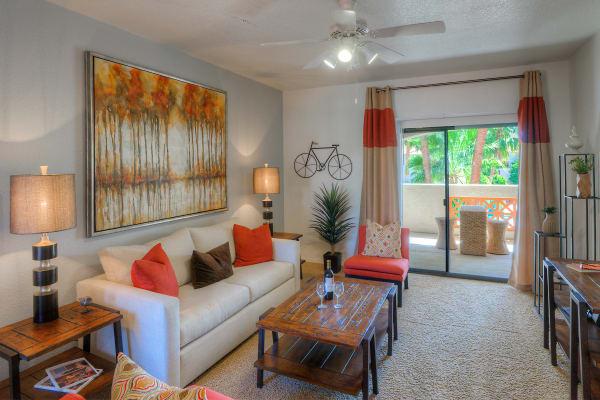 Model living room with unique accent lighting at San Prado in Glendale, Arizona