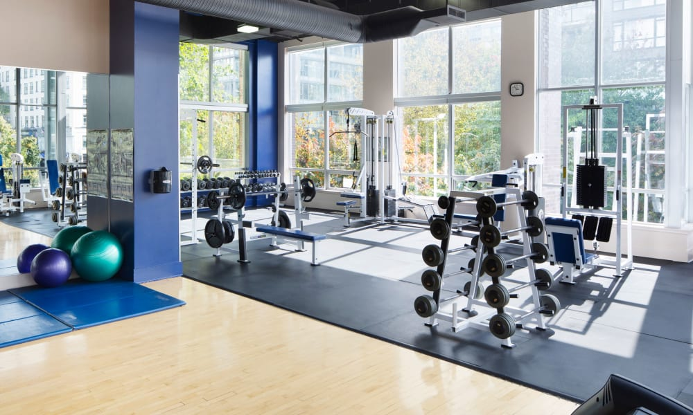 State-of-the-art fitness room at Metropolitan Towers in Vancouver, British Columbia