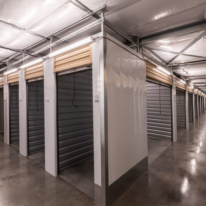 Indoor storage units in a variety of sizes at Cubes Self Storage in Draper, Utah