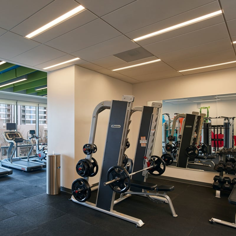 Fitness center with treadmills at Solaire 8250 Georgia in Silver Spring, Maryland