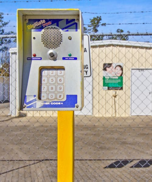 Electronic Security Gates with Keycode Entry at Global Self Storage in Summerville, South Carolina
