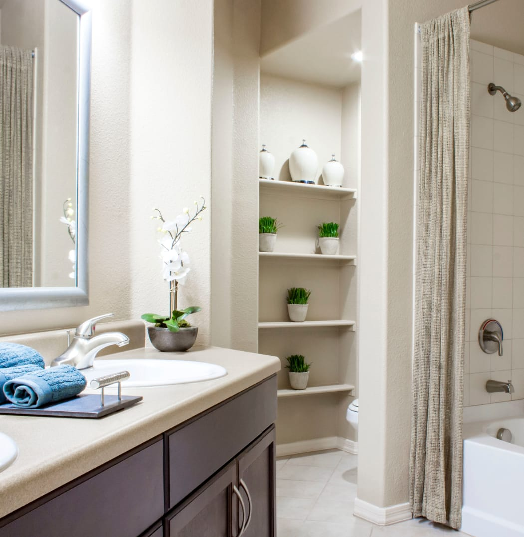 Beautiful and bright bathroom in model home at The Residences at Stadium Village in Surprise, Arizona
