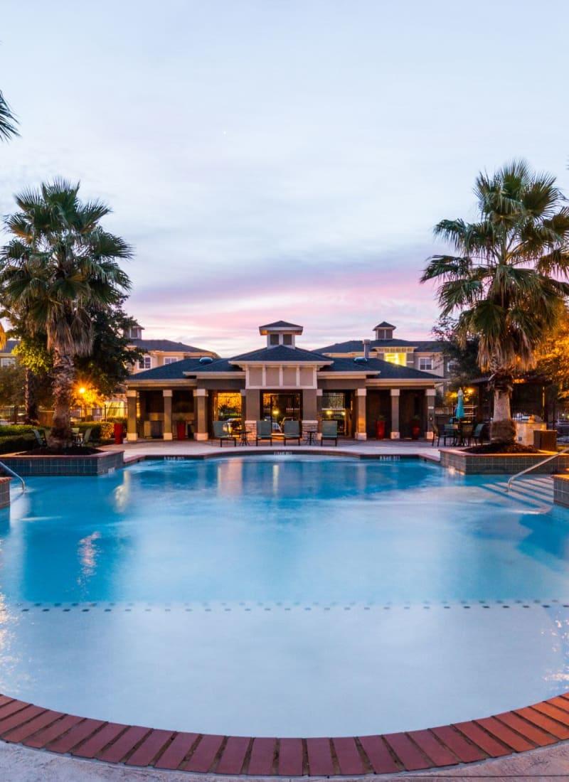 Pool at dusk at Marquis at The RIM in San Antonio, Texas