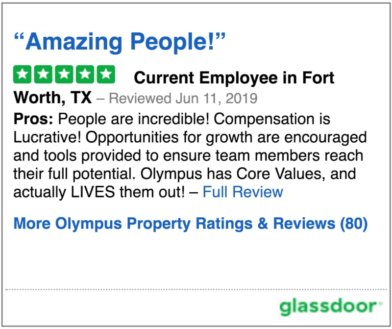 Glassdoor review of Olympus Property in Fort Worth, Texas
