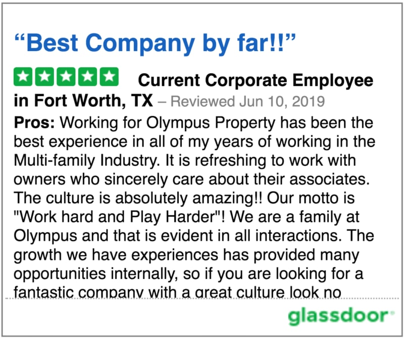 Glassdoor review 4 of Olympus Property in Fort Worth, Texas