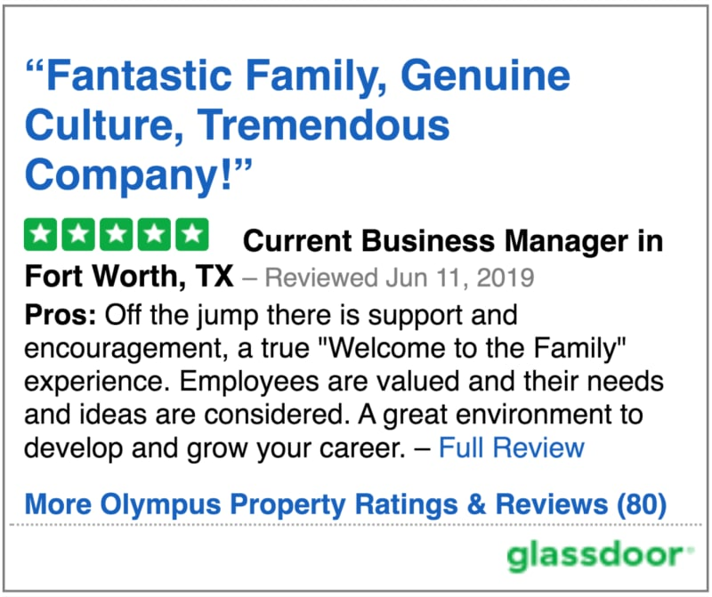 Glassdoor review 2 of Olympus Property in Fort Worth, Texas