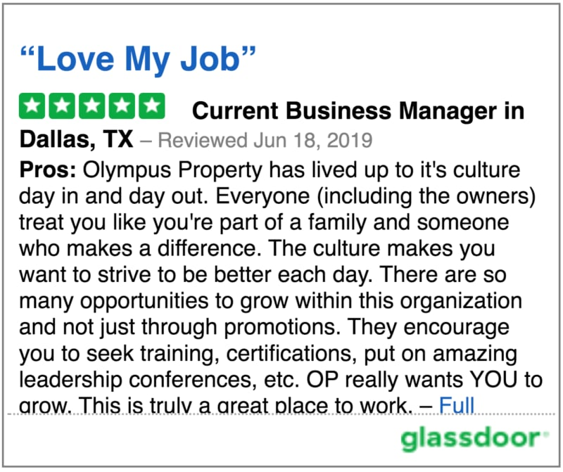 Glassdoor review 5 of Olympus Property in Fort Worth, Texas