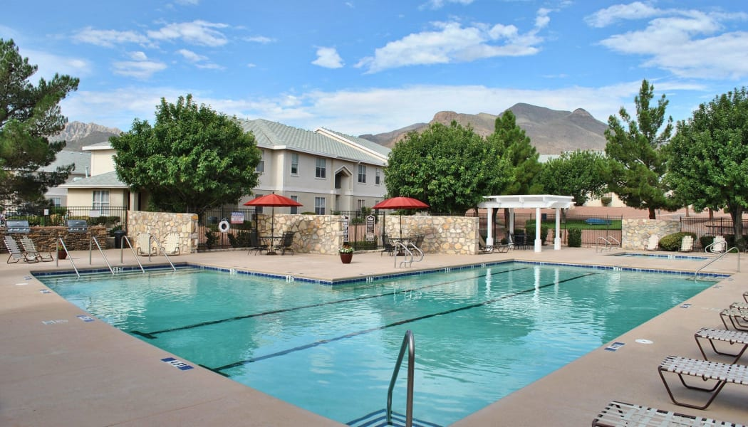A great view of the pool at The Patriot Apartments in El Paso, TX