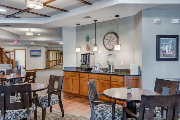 Coffee and tea bar at Arbor Glen Senior Living in Lake Elmo, Minnesota