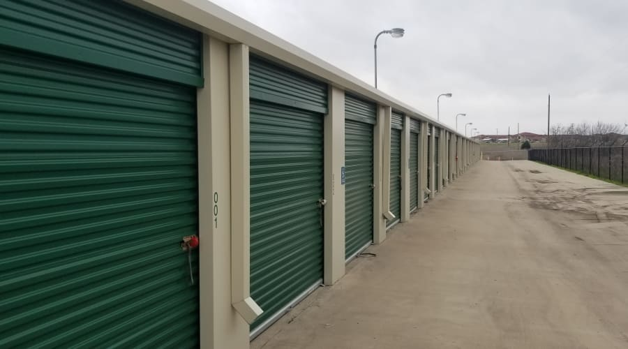 The drive up storage units at KO Storage of Cleburne in Cleburne, Texas