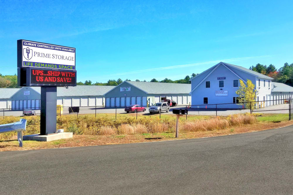 Exterior view of Prime Storage to help them move in Berwick, Maine