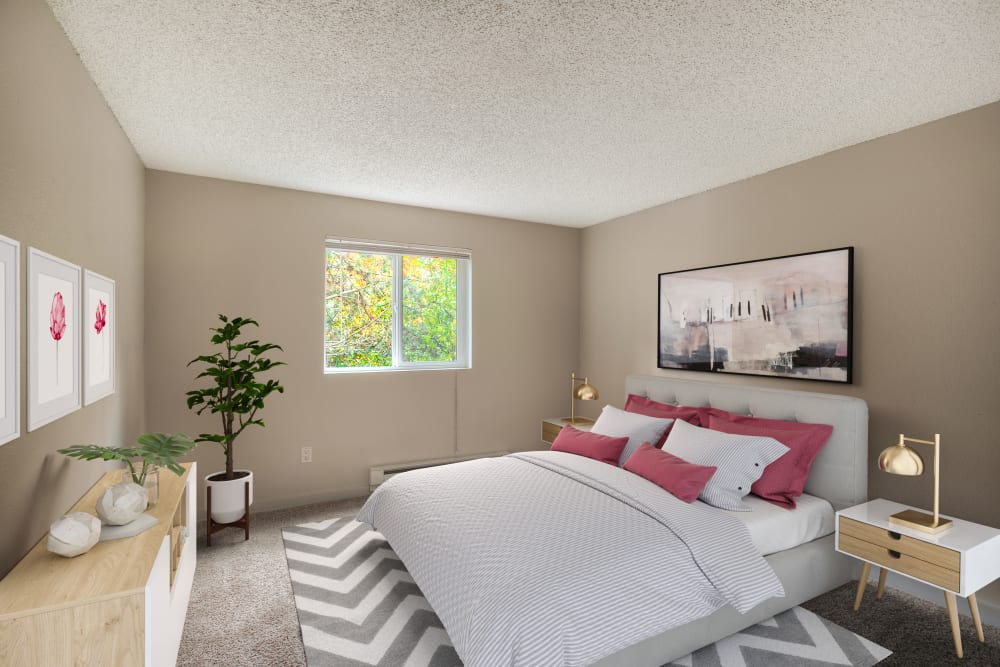 Spacious bedroom at Karbon Apartments in Newcastle, Washington
