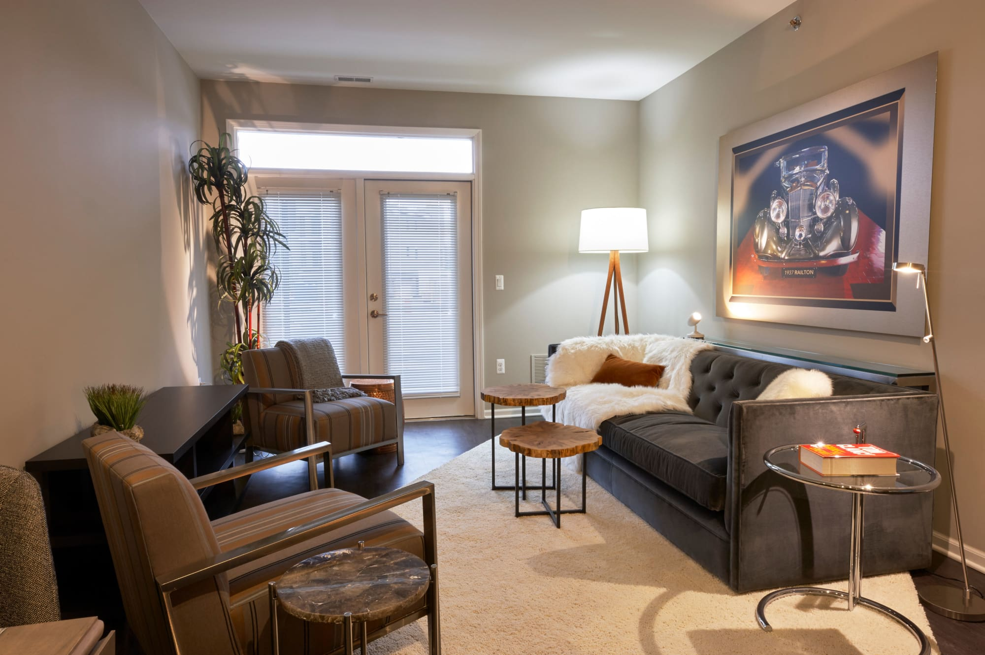 Model living room at Town Court
