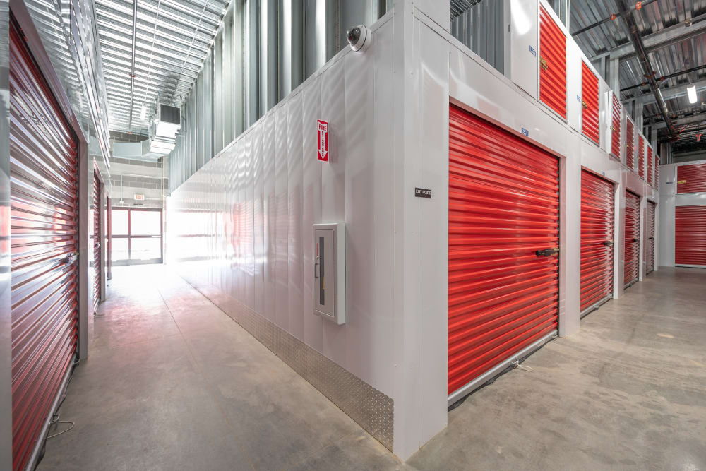 Indoor hallway access to storage units at Trojan Storage in San Jose, California