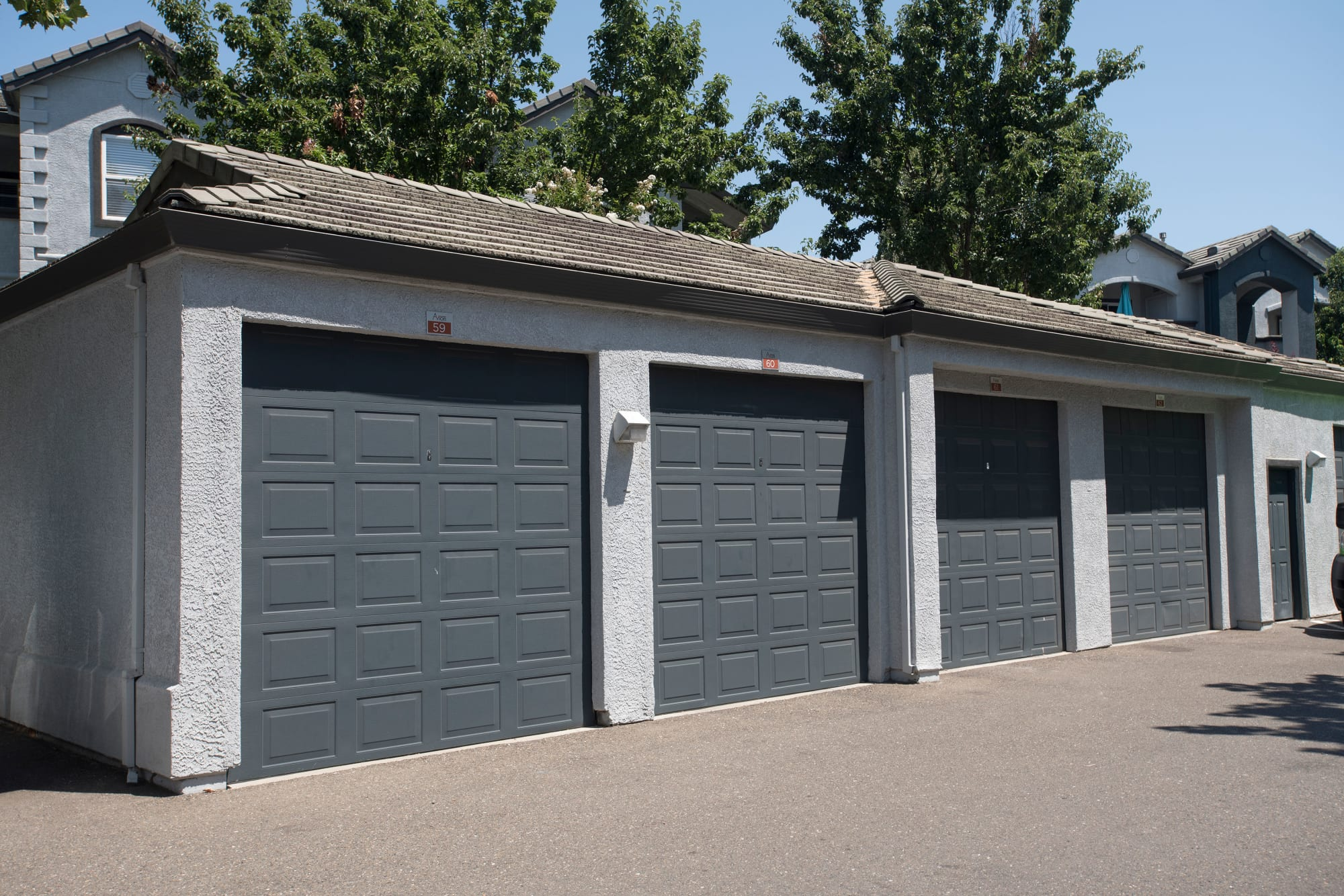 Outdoor garages at Avion Apartments in Rancho Cordova, California