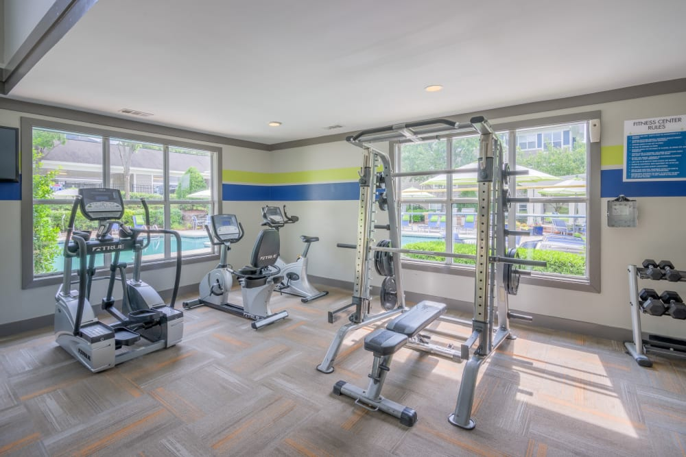 Spacious and well-equipped fitness center at The Mark in Raleigh, North Carolina
