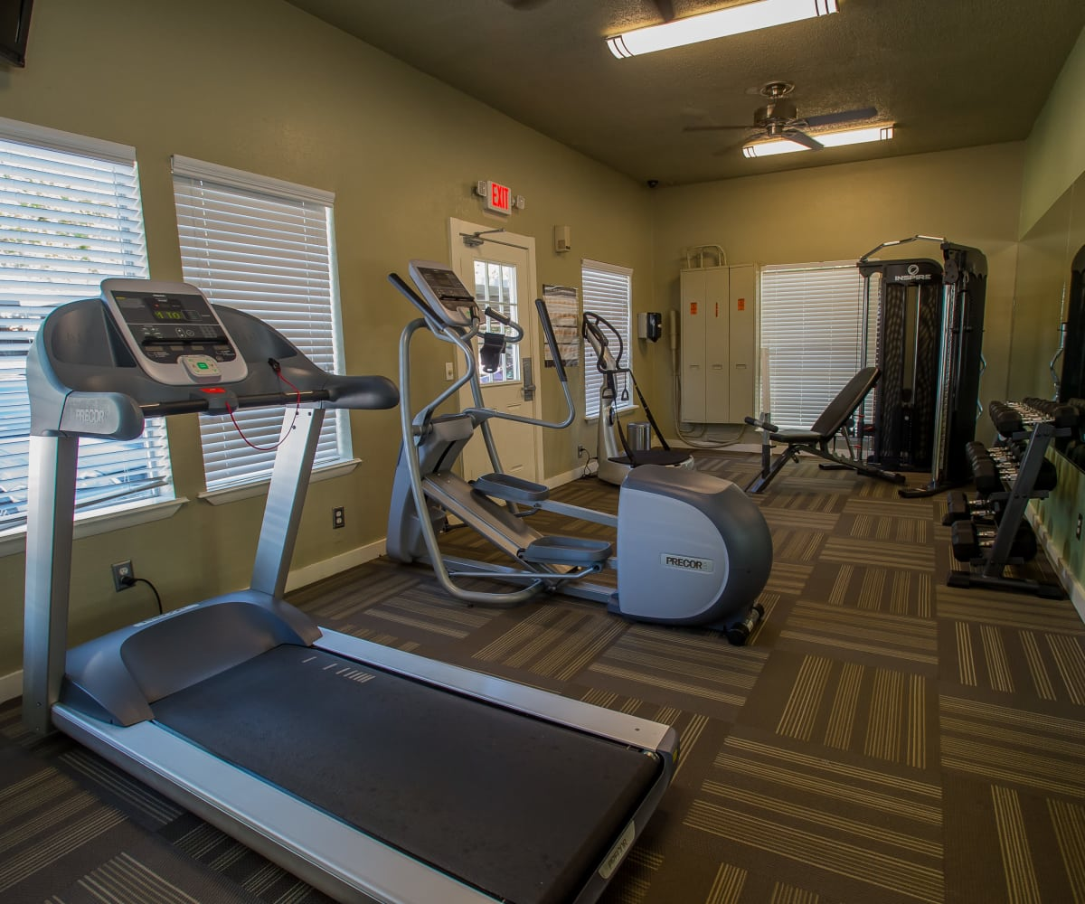 Private fitness center at Barcelona Apartments in Tulsa, Oklahoma