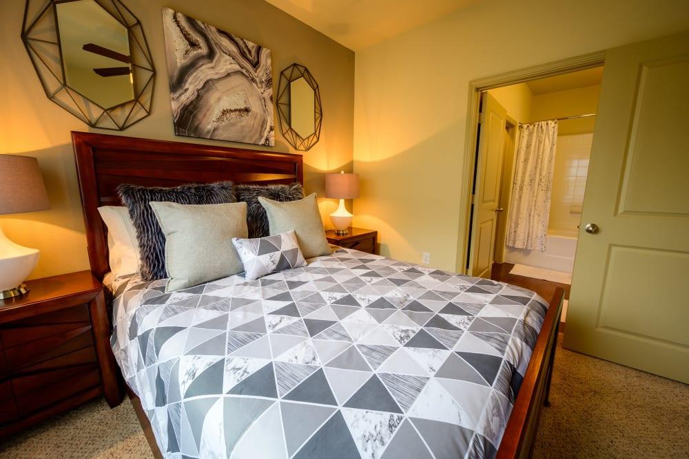 Model apartment's primary bedroom with plush carpeting at Pecan Springs Apartments in San Antonio, Texas