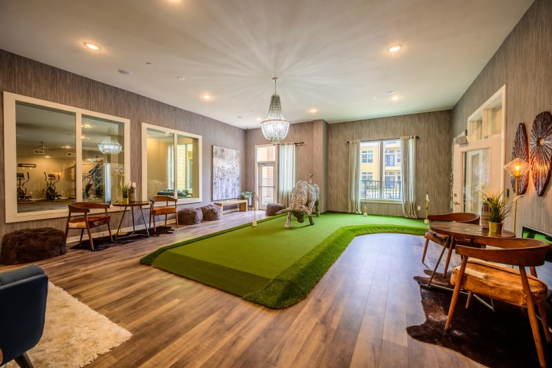 Indoor putting green at lounge Aspire at 610 in Houston, Texas