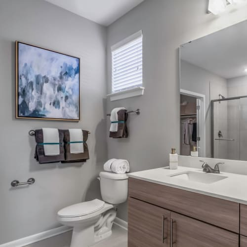 Quartz countertop and a large vanity mirror in a model home's bathroom at The Palmer in Charlotte, North Carolina