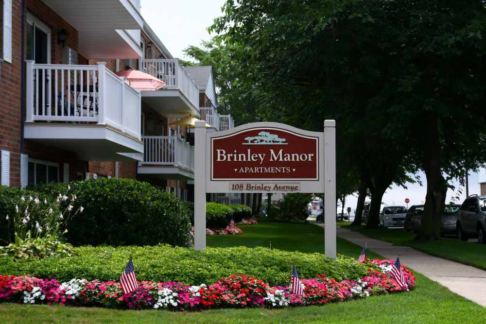 Our sign welcoming residents and their guests to Brinley Manor