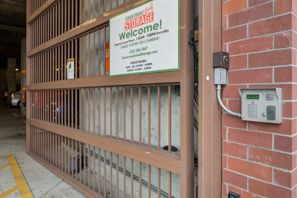 Security gate at Farmers Market Self Storage in Los Angeles, CA