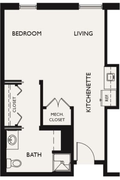 Plan J floor plans at The Inn at Greenwood Village in Greenwood Village, Colorado