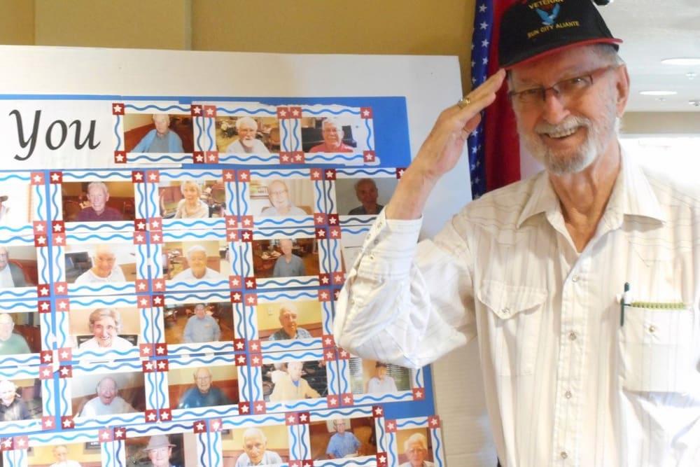 A Veteran resident at Merrill Gardens at Gilroy in Gilroy, California.