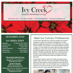 December Ivy Creek Gracious Retirement Living newsletter