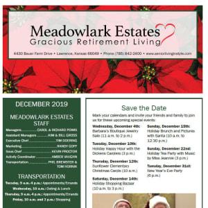 December Meadowlark Estates Gracious Retirement Living newsletter