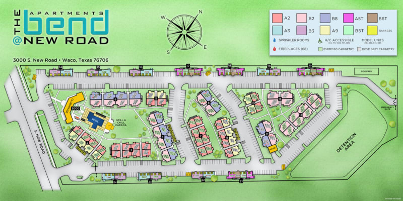 Site map for Bend at New Road Apartments in Waco, Texas